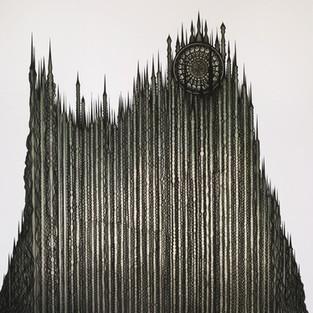 Geomorphologic landform building - Geomorphologic cathedral  3 – 200 x 190 - ink on canvas – 2018