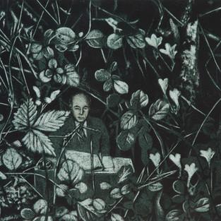 Çalılıktaki Adam / Man in Undergrowth - 50 x 50 -  Acrylic on paper - 2014