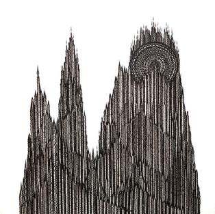 Geomorphologic landform building - Geomorphologic cathedral 5 – 200 x 190 - ink on canvas – 2019