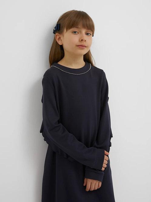 Платье с воланами на задней части рукава из Джерси Темно-синее
