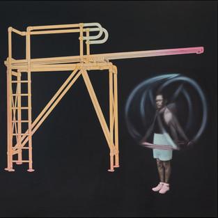 Gym (homo ludens) - 210 x 210 - acrylic on canvas - 2018