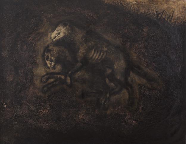 Soluk Soluğa İki Köpek - Two Breathless Dogs - 180 x 230 -  Acrylic on paper - 2011