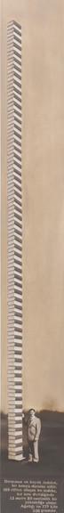 Rekor - 100 cilt, 13 metre, 229 kilo / Record - 100 Encyclopedias, 13 meters, 229 kilos230 X 30 Oil on canvas - 2011