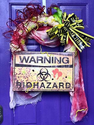 Warning Biohazard Halloween Wreath