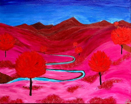 """Pink Mountian Landscape - 16""""x20"""" Acrylic Painting"""