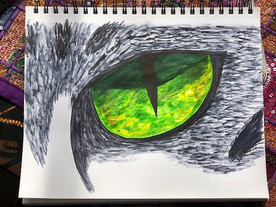 Cat's Eye with Watercolor Pens