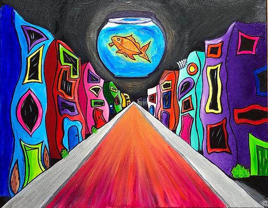 "Goldfish Moon - 16"" x 20"" Acrylic Painting"