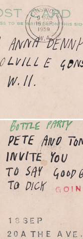 Invitation from Peter Blake to a party for Richard Smith, who was leaving for the USA after receiving the Harkness