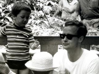 Robyn Denny in Venice, 1966 with his son Dominic