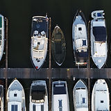 Aerial top down photo of marina a dock b
