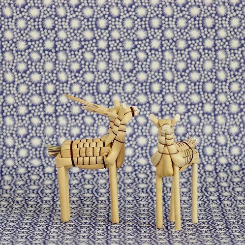 Pair of Broom Corn Reindeer