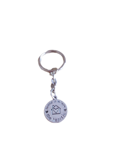 Silver plated Home is where the heart is keyring