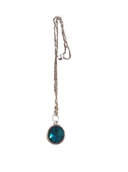 Silver plated dark teal rivoli necklace