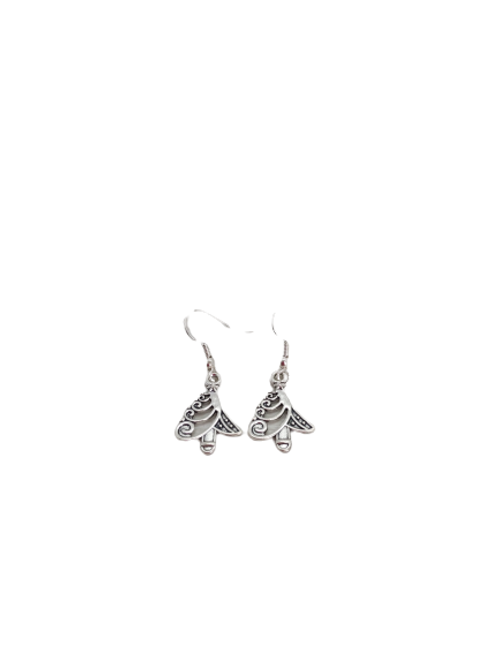 Christmas tree earrings, silver plated drops, sterling silver, gifts for her