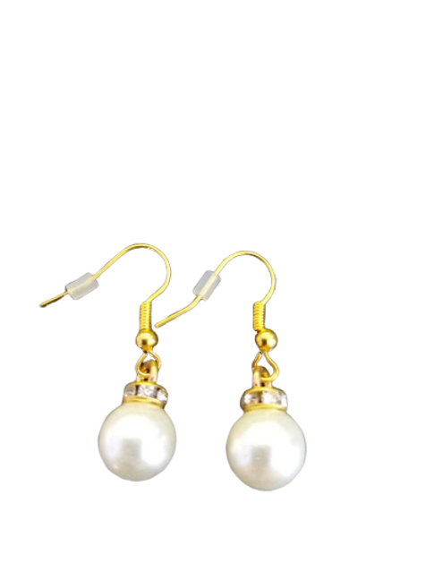 Gold plated/silver plated or sterling silver diamante pearl drop earrings in red