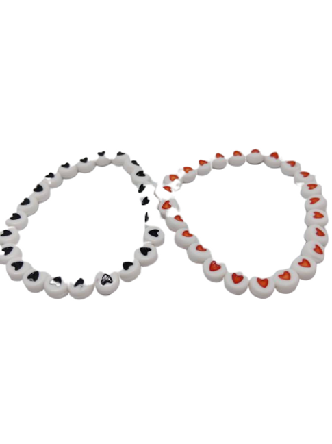 Black and white and red and white heart beaded stretchy bracelet
