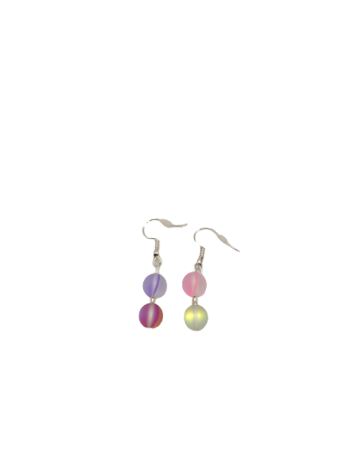Moonstone jewellery set, multicolour jewelry, shiny necklace, colourful earrings