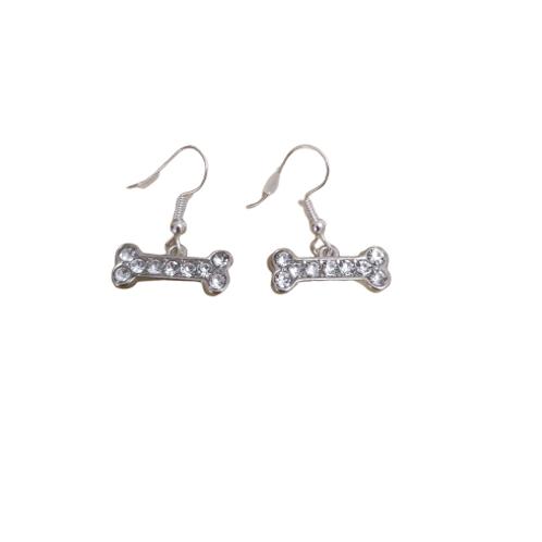Sterling silver/silver plated diamante bone drop earrings