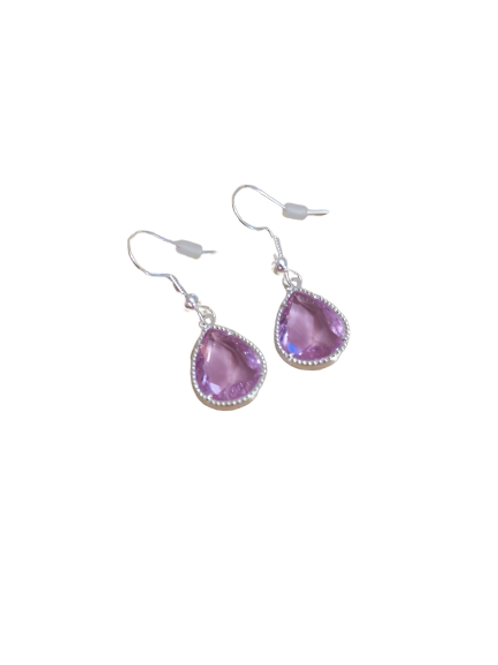 sterling silver/silver plated lilac oval earrings