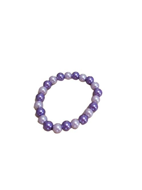 Purple stretch faux pearl beaded bracelet