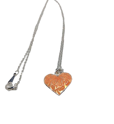 Silver plated orange love heart chain