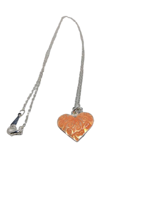 Silver plated orange love heart chain