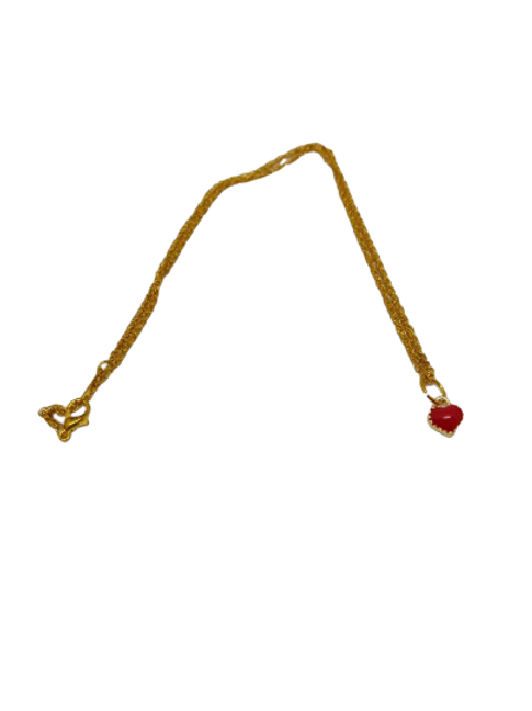 Gold plated red heart or pink heart chain/necklace