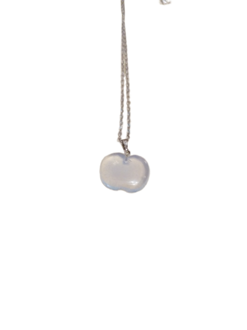Silver plated opalite gemstone apple chain/necklace