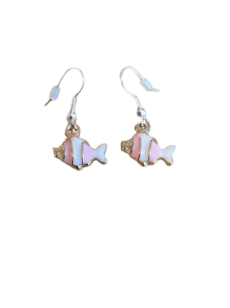 Sterling silver/silver plated pink and white fish earrings