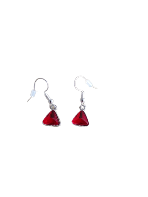 Silver plated/sterling silver red triangle drop earrings