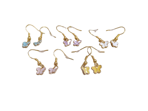 Gold plated coloured butterfly drop earrings