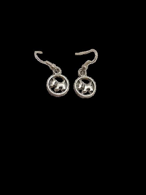 silver plated dog earrings/canine jewellery/Scotty breed/925 silver/dangle earri