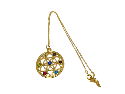 Gold plated chakra gemstone statement pendant/necklace/chain