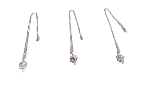 Silver plated four leaf clover/shamrock diamante necklace/chain/pendant