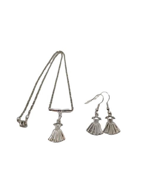 Silver plated dress charm necklace and earring jewellery set