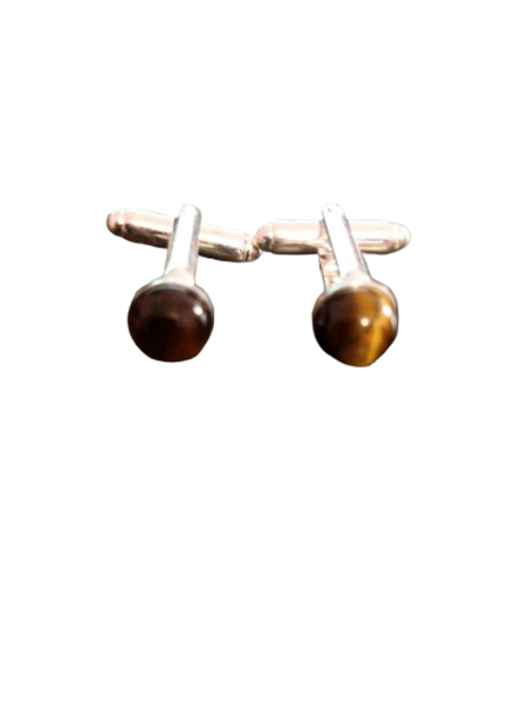 Silver plated gemstone cufflinks for men