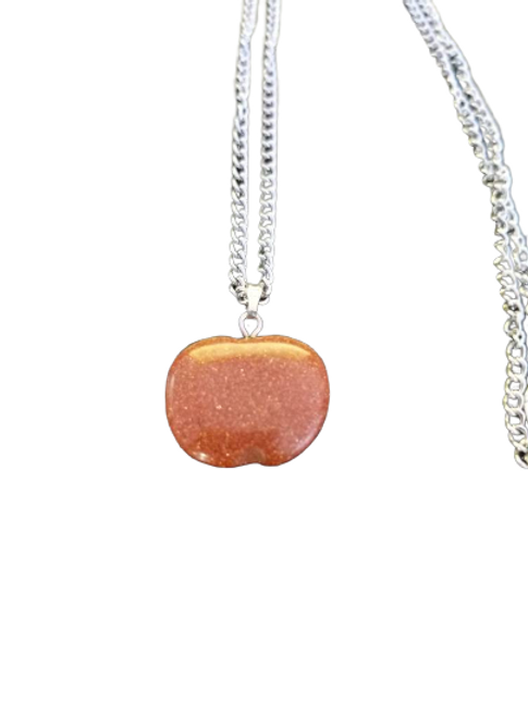Silver plated goldstone apple gemstone chain/necklace