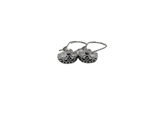 Silver plated crown drop earrings