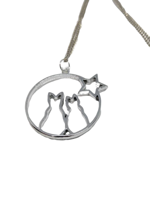 Silver plated cat and stars outline necklace/chain