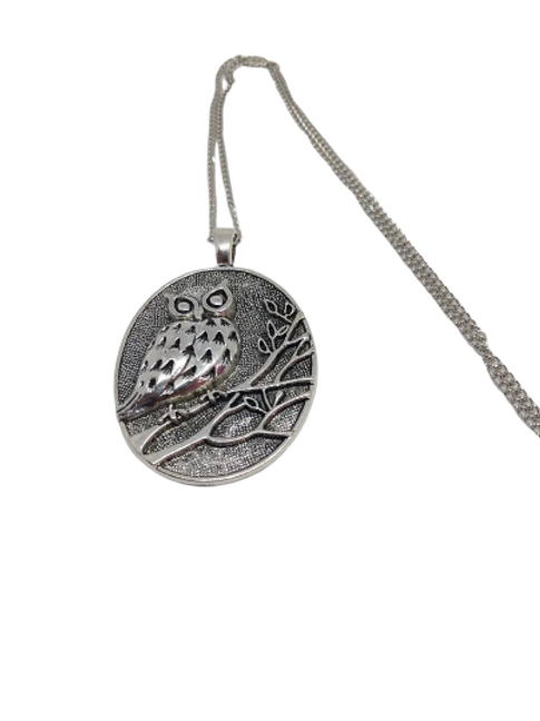 Silver plated chunky owl pendant/necklace/chain