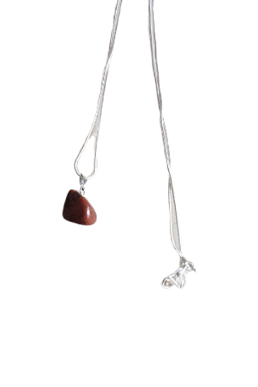 Silver plated mahogany obsidian gemstone healing chain/necklace
