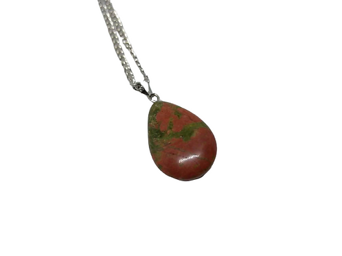 silver plated unakite oval gemstone pendant/necklace/chain