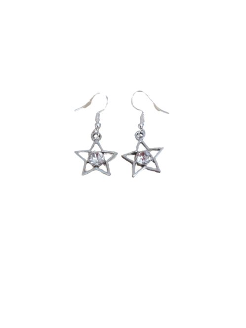 silver plated/sterling silver diamante star earrings