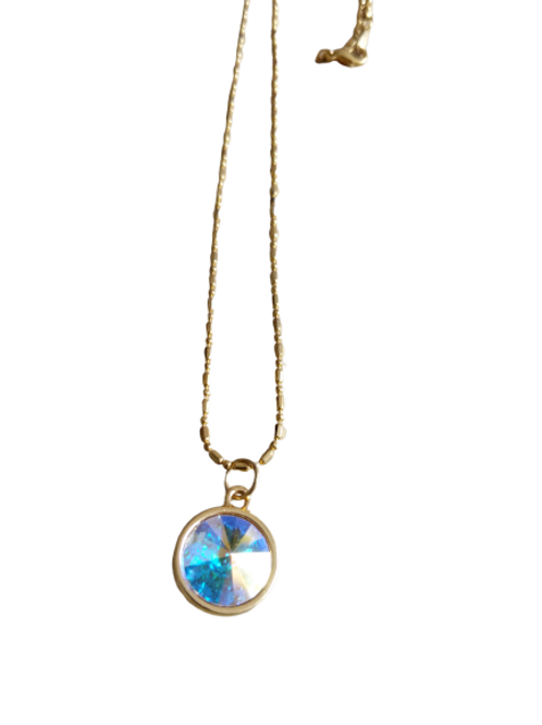 Gold plated clear rivoli chain/necklace