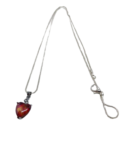 Silver plated infused heart chain/necklace