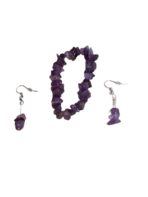 Amethyst chip bead earring and bracelet set