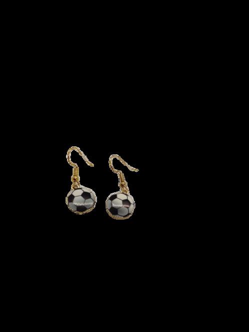Football earrings, gold plated, soccer drops, monochrome earrings, gift for him