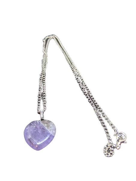 Silver plated purple/lilac heart chain/necklace