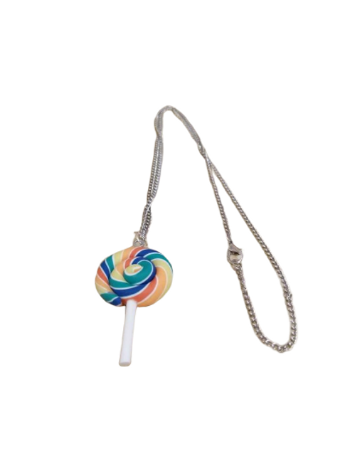 Silver plated swirly lollipop necklace/chain/pendant
