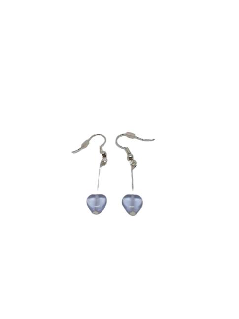 alexandrite purple heart drop earrings